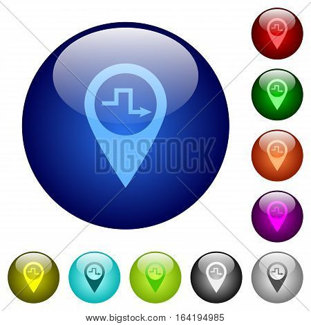 Route planning icons on round color glass buttons