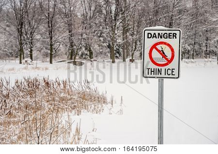 Thin Ice Warning Sign in Montreal Quebec Canada