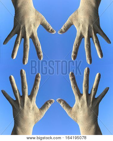 Human dirty hands toward each other a blue background
