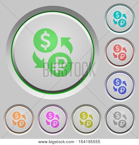 Dollar Ruble money exchange color icons on sunk push buttons