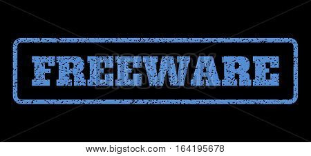 Blue rubber seal stamp with Freeware text. Vector caption inside rounded rectangular shape. Grunge design and unclean texture for watermark labels. Horisontal sign on a black background.