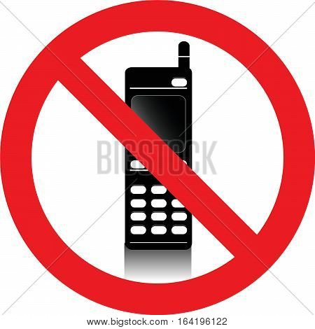 No mobile phones allowed sign on white background