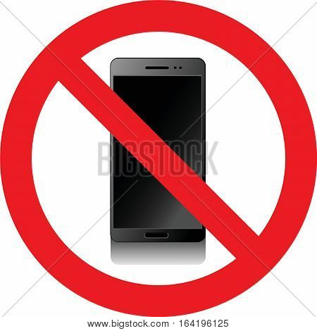 No smartphones allowed sign on white background