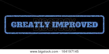 Blue rubber seal stamp with Greatly Improved text. Vector tag inside rounded rectangular banner. Grunge design and unclean texture for watermark labels. Horisontal sticker on a black background.