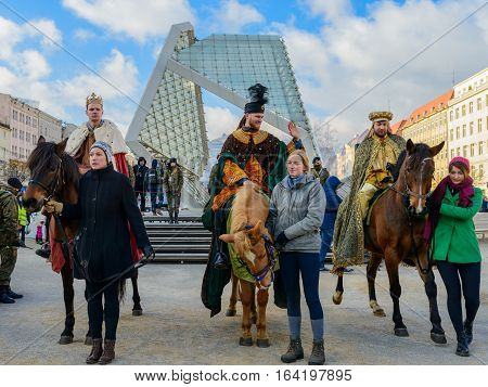 Poznan POLAND - JANUARY 6 2017: Epiphany holiday in Christian religion - traditional procession reconstruction of visit of the Magi to the infant Jesus - also called procession of three kings