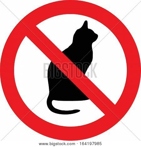 No cats allowed sign on white background