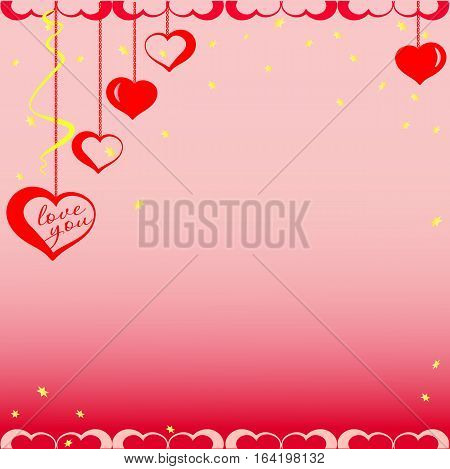 Red hearts on chains with gold stars. Vector illustration