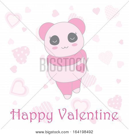 Valentine's day illustration with cute baby pink panda on heart background suitable for Valentine's day invitation card, greeting card, and postcard