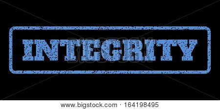 Blue rubber seal stamp with Integrity text. Vector caption inside rounded rectangular frame. Grunge design and dust texture for watermark labels. Horisontal sticker on a black background.