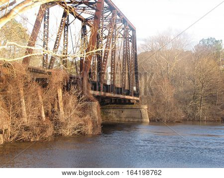 Old antique early american Railway Bridge in Texas