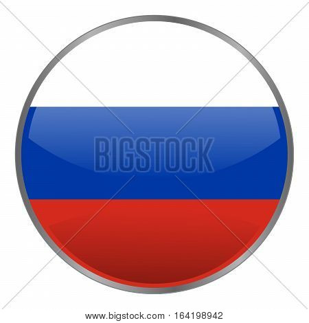 Round glossy isolated vector icon with national flag of Russian Federation on white background. Russia icon.