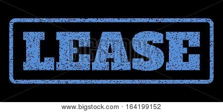 Blue rubber seal stamp with Lease text. Vector message inside rounded rectangular shape. Grunge design and dust texture for watermark labels. Horisontal emblem on a black background.