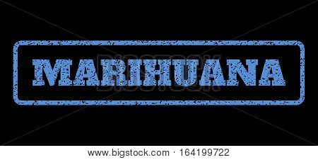 Blue rubber seal stamp with Marihuana text. Vector caption inside rounded rectangular shape. Grunge design and scratched texture for watermark labels. Horisontal sticker on a black background.