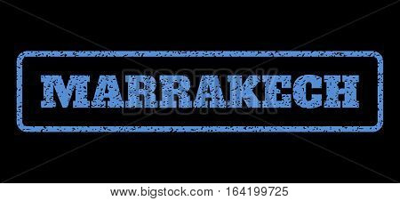 Blue rubber seal stamp with Marrakech text. Vector caption inside rounded rectangular banner. Grunge design and scratched texture for watermark labels. Horisontal emblem on a black background.
