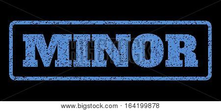Blue rubber seal stamp with Minor text. Vector caption inside rounded rectangular shape. Grunge design and unclean texture for watermark labels. Horisontal sticker on a black background.