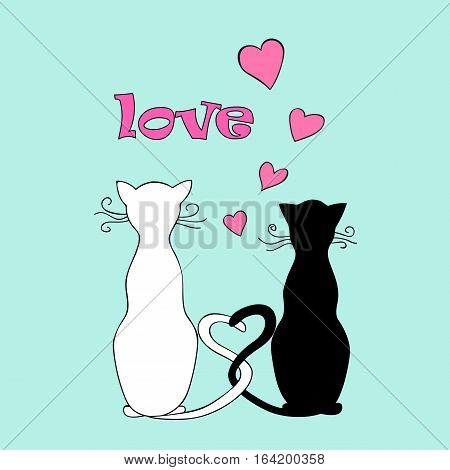Isolated doodle couple cats with hearts and word love for Valentine greeting card invitation save date wedding holiday. Print for decorate t-shirt tunic bag home dishes. eps 10.