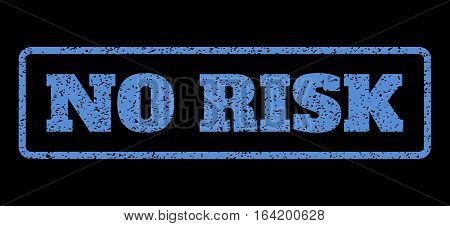 Blue rubber seal stamp with No Risk text. Vector tag inside rounded rectangular banner. Grunge design and dirty texture for watermark labels. Horisontal sign on a black background.