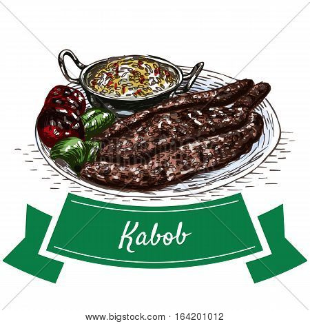 Kabob colorful illustration. Vector illustration of Persian cuisine.