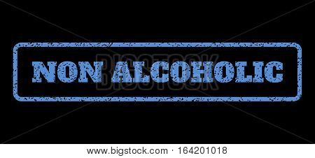 Blue rubber seal stamp with Non Alcoholic text. Vector tag inside rounded rectangular banner. Grunge design and scratched texture for watermark labels. Horisontal sticker on a black background.