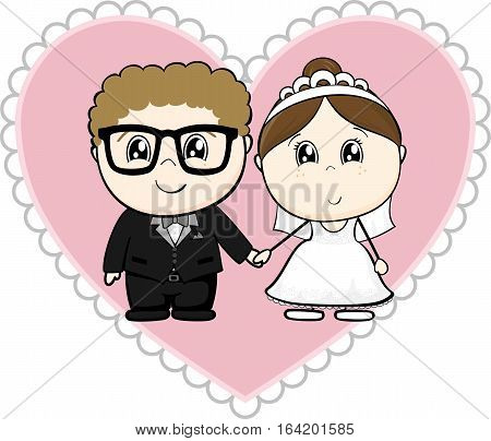 cute young couple bride and groom with pink heart isolated on white background