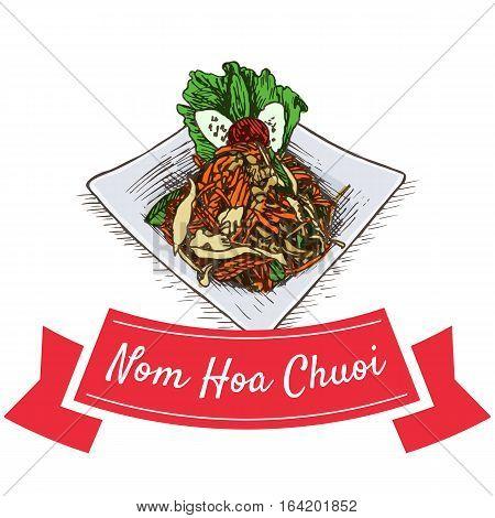 Nom Hoa Chuoi colorful illustration. Vector illustration of Vietnamese cuisine. poster