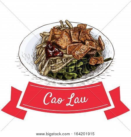 Cao Lau colorful illustration. Vector illustration of Vietnamese cuisine.