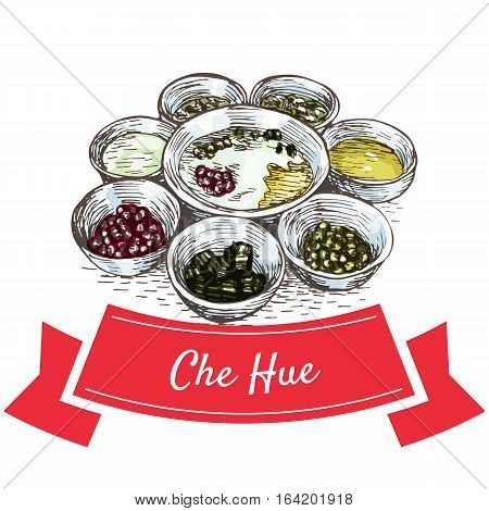 Che Hue colorful illustration. Vector illustration of Vietnamese cuisine.
