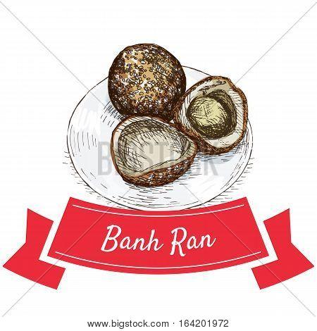 Banh Ran colorful illustration. Vector illustration of Vietnamese cuisine.