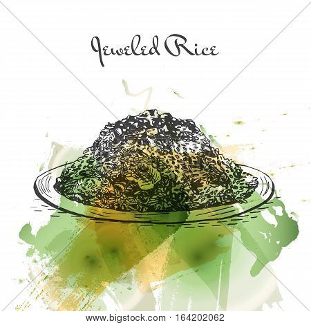 Jeweled Rice watercolor effect illustration. Vector illustration of Persian cuisine.