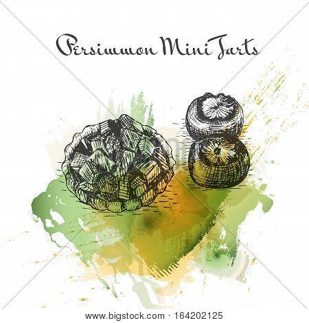Persimmon Mini Tarts watercolor effect illustration. Vector illustration of Persian cuisine.