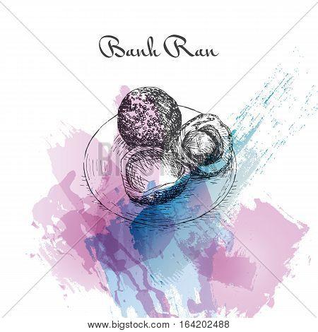 Banh Ran watercolor effect illustration. Vector illustration of Vietnamese cuisine.