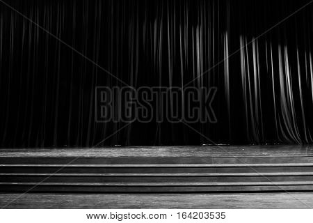 Black And White Curtains And Wooden Stage.