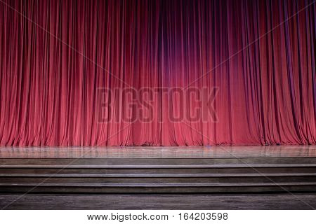 Old Red Curtains On Stage.
