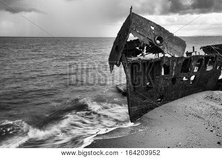 Black And White. Shipwrecked Hmqs Gayundah