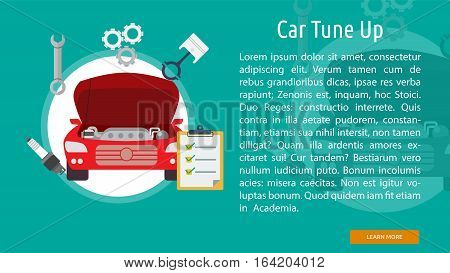 Car Tuneup Conceptual Banner | Great flat illustration concept icon and use for mechanic, car repair, industrial, transport, business concept, and much more.