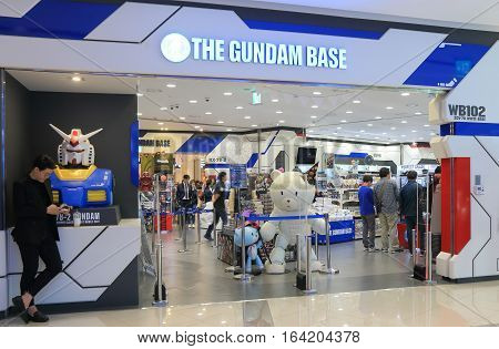 SEOUL SOUTH KOREA - OCTOBER 22, 2016: Unidentified people vist Gundam base at Digital Speciality store. Digital Speciality store sells hi tech product in Yangsan train station complex.
