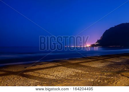 Night shot of beach in Terracina Lazio Italy.