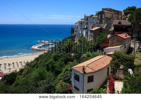View above the sea from a high point of Sperlonga Lazio Italy.