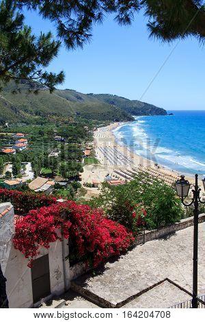 View of the sea at Sperlonga in Lazio Italy.