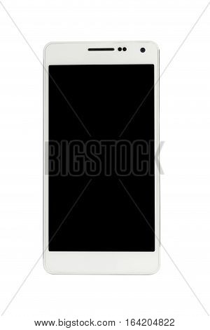 Directly front view of a modern white mobile smart phone with blank screen isolated on white background