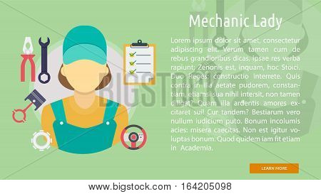 Mechanic Lady Conceptual Banner | Great flat illustration concept icon and use for mechanic, car repair, industrial, transport, business concept, and much more.