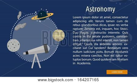 Astronomy Conceptual Banner   Great flat illustration concept icon and use for space, universe, galaxy, astrology, planet and much more.