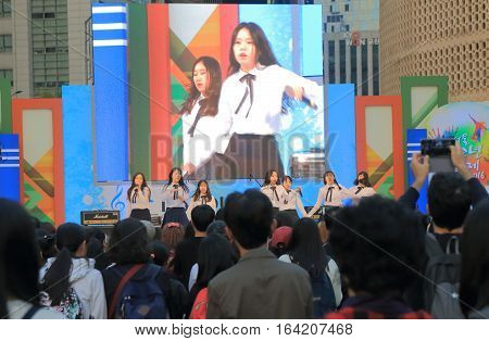 SEOUL SOUTH KOREA - OCTOBER 22, 2016: Korean pop idol perform in a public event in Seoul.