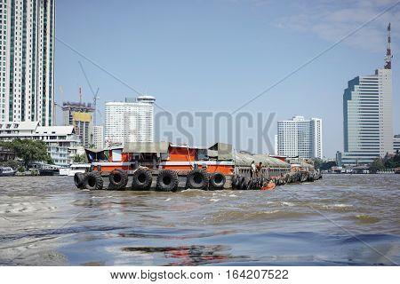 sand boat tanker on the river ,Bangkok,Thailand