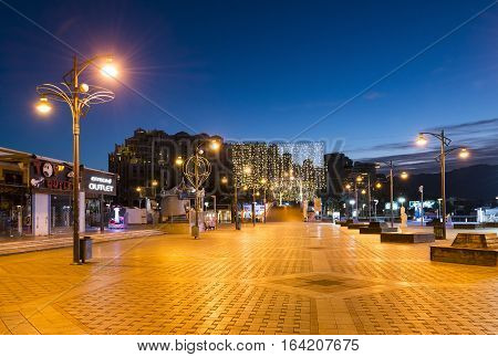 EILAT, ISRAEL -JANUARY 02, 2017: Central promenade in Eilat - famous resort city in Israel