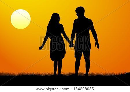 Silhouettes of men and women standing and holding hands at sunset. Vector illustration