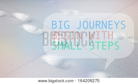 Footprints in snow winter season pastel gradient overlay with quote Big journeys begin with small steps