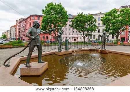 Humorous Feuerwehrbrunnen In Kreuzberg, Berlin, Germany