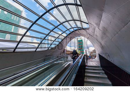 Escalator To A Bicycle Parking In Eindhoven, Netherlands