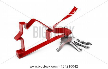 Real estate with house model and keys
